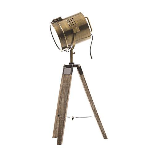 Lámpara proyector, diseño vintage y retro de metal tipo cobre y trípode de madera.