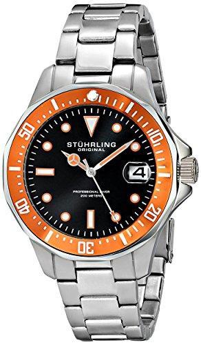 Stuhrling Original Man Aquadiver 664 664.04 - Reloj de pulsera Cuarzo Hombre correa deAcero inoxidable Plateado