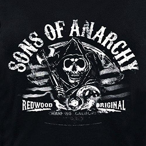 Sons of Anarchy - Hijos de la anarquía - camiseta sin mangas con la calavera - de los moteros de Charming en California, camiseta de chica con la licencia oficial, algodón, negra